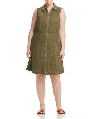 Foxcroft Plus Leaf Eyelet Shirt Dress