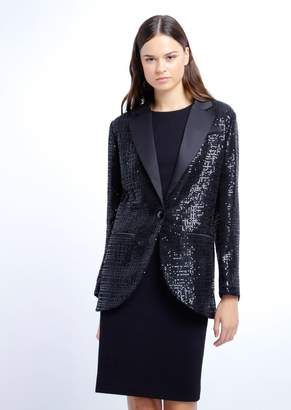 Emporio Armani Single-Breasted Blazer In Embroidered Mesh With Micro Sequins
