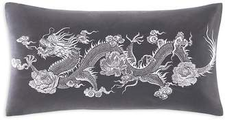 Natori Sterling Dragon Embroidered Decorative Pillow, 12 x 21