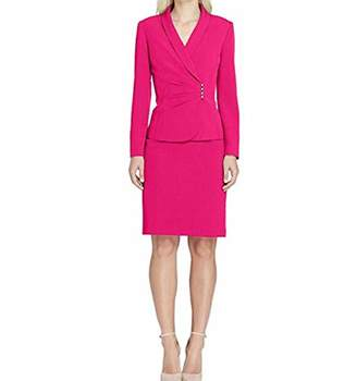 Tahari by Arthur S. Levine Women's Stretch Crepe Skirt Suit with Side Rouched Detail