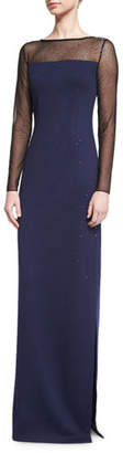St. John Collection Shimmery Long-Sleeve Evening Gown, Ink/Caviar $1,795 thestylecure.com