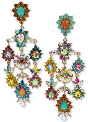 Betsey Johnson Gold-Tone Multi-Stone Flower Chandelier Earrings