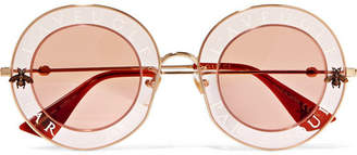 Gucci Round-frame Printed Acetate And Gold-tone Sunglasses - Pink
