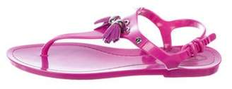 Tod's Rubber T-Strap Sandals Purple Rubber T-Strap Sandals