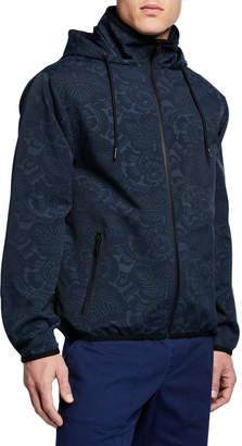 Vince Men's Tonal Floral-Print Zip-Front Jacket