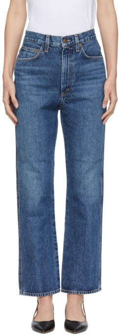 Agolde Blue Pinch Waist Hi Rise Kick Jeans