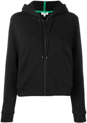 Kenzo tiger embroidered zip front hoodie