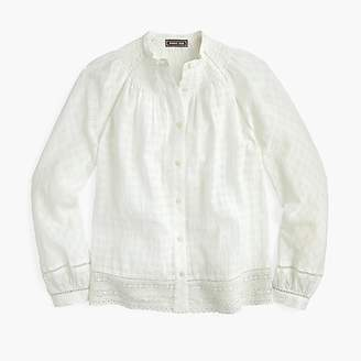 J.Crew Tall Point Sur peasant top in windowpane cotton voile
