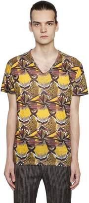 Etro Psychedelic Linen Jersey V-Neck T-Shirt