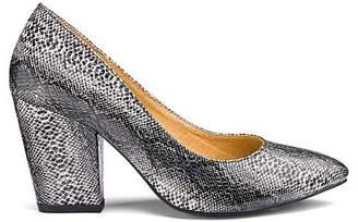 Slip On Block Heel Court Shoes Extra Wide EEE Fit