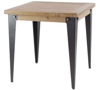DecMode Decmode Rustic 24 X 24 Inch Square Brown Wood and Metal Accent Table