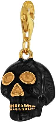 True Rocks - Black Enamel & 18 Carat Gold Plated Skull Charm