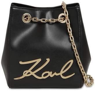 Karl Lagerfeld Paris Signature Leather Bucket Bag