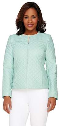 Isaac Mizrahi Live! Quilted Leather Zip Front Jacket