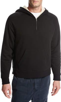 Vince Sherpa-Lined Half-Zip Pullover Hoodie, Black