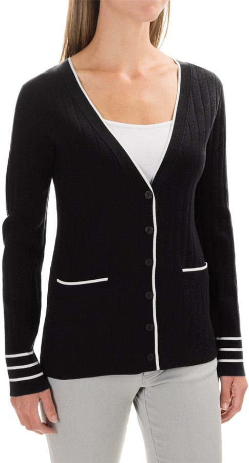 Pendleton Two-Pocket Ribbed Cardigan Sweater - Silk (For Women)