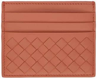 Bottega Veneta Red Intrecciato Three-Slot Card Holder