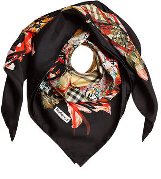 Burberry Floral Scribble Printed Silk Scarf