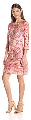 Sandra Darren Women's 1 Pc 3/4 Paisley Printed Ity Shft Dress