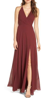 Jenny Yoo Bryce Surplice V-Neck Chiffon Evening Dress