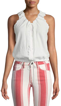 Frame V-Neck Tie-Front Sleeveless Cotton Top