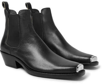 Calvin Klein Chris Metal Toe-Cap Full-Grain Leather Boots