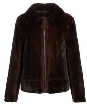 Zac Posen Mink Fur& Suede Zip-Front Jacket