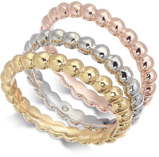 Alfani Tri-Tone 3-Pc. Set Bubble-Style Stacking Rings, Created for Macy's