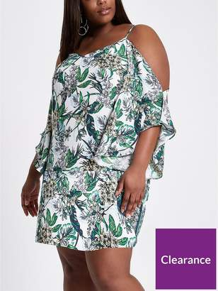 River Island RI Plus Printed Ruffle Cami Swing Dress - Floral