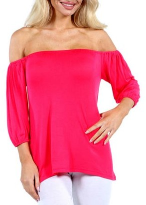24/7 Comfort Apparel Women's Sweetheart Off Shoulder Tunic Top