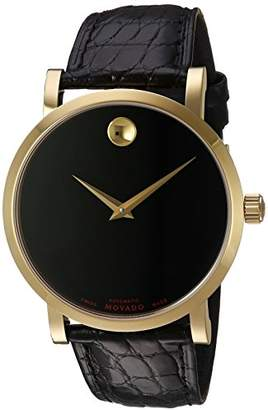 Movado Men's Swiss Automatic Gold-Tone and Leather Casual Watch