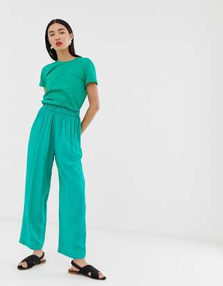 And other stories & high waisted jacquard dot print pants in green