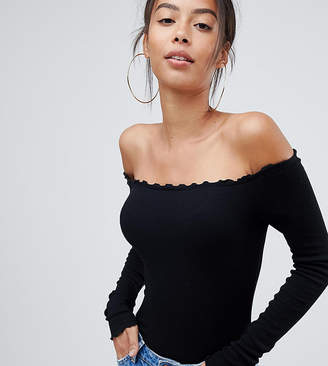 Asos Tall DESIGN Tall off shoulder body with long sleeves and lettucing in black