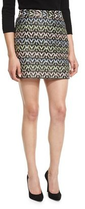Milly A-Line Chevron Brocade Modern Mini Skirt, Multi $250 thestylecure.com