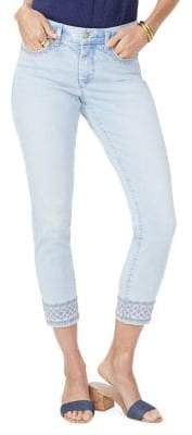 Ami Embroidered Border Skinny Ankle Jeans