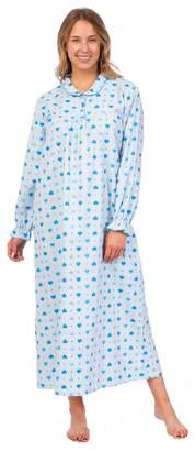 Pink Lady Women's 100% Cotton Flannel Print Long Sleeve Nightgown (, S)