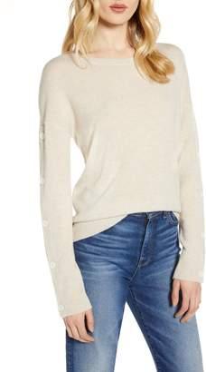 Halogen Wool & Cashmere Button Sleeve Sweater