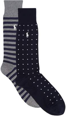 Ralph Lauren Polka-Dot and Stripe Socks (Pack of 2)
