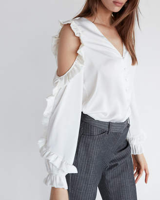 Express Silky Ruffle Cold Shoulder Shirt