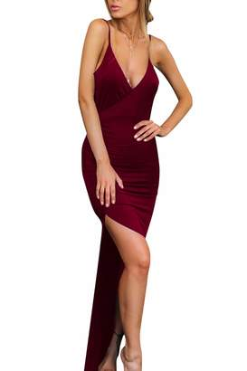Velius Women's Sexy Spaghetti Strap V Neck High Slit Backless Party Wrap Maxi Dress