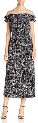 MICHAEL Michael Kors Leaf Print Off-The-Shoulder Dress $140 thestylecure.com