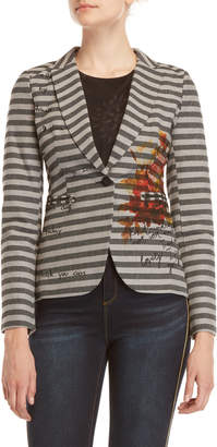 Desigual Stripe One-Button Blazer