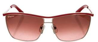 Salvatore Ferragamo Leather-Trimmed Tinted Sunglasses