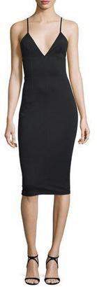 T by Alexander Wang Fitted High-Lux Ponte Midi Dress, Black $325 thestylecure.com