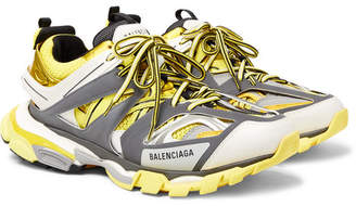 Balenciaga Track Nylon, Mesh And Rubber Sneakers - Yellow