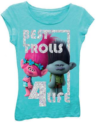 Asstd National Brand Trolls Girls' Best Trolls 4 Life Short Sleeve Graphic T-Shirt with Silver Glitter