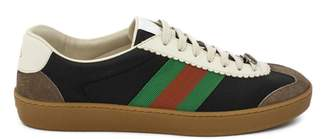 Gucci G74 Black Leather Sneaker With Web.