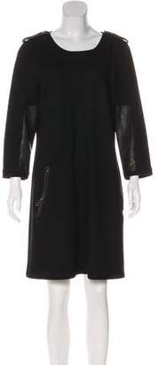 Burberry Leather-Trimmed Wool Dress