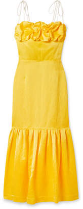 Hellessy Rosie Ruffled Grosgrain-trimmed Linen-blend Jacquard Dress - Yellow