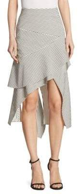 Jonathan Simkhai Striped Hi-Lo Wool Car Wash Skirt